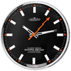 Modern-Wall-Clock-CHERMOND-ticking-metal-case-black-dial