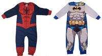 NEW KIDS BOYS ALL-IN-ONE ONESIE PYJAMAS NIGHTWEAR BATMAN SPIDERMAN MARVEL COMICS