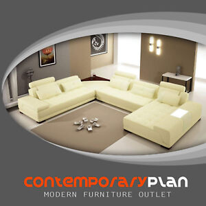 Details about Monte Contemporary Yellow Italian Design Leather Sectional  Sofa w White Accents