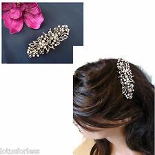 Diamante Flower Barrette Hair clip Grip Antiqued Silver Tone for Bridal Prom