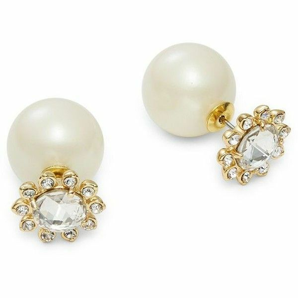 Nwt Kate Spade Reversible Flower Front Jumbo Pearl Back Earrings Daisy Crystals