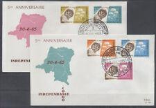 CONGO BELGE FDC 40-41 - ANNIVERSAIRE INDEPENDANCE DU CONGO - 1965 LUXE