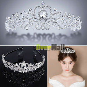 Wedding-Bridal-Princess-Crystal-Prom-Hair-Tiara-Crown-Veil-Headband-with-Comb-US