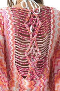Sky-Clothing-Brand-S-NWT-205-Swim-Cover-Up-Beach-Rainbow-Pink-Knit-Pool-Party