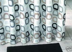 Tende Da Doccia In Tessuto : Tenda doccia in tessuto bianco marrone grigio nero cerchi punti