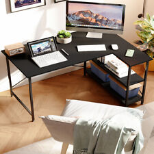 Computer Desk L Shaped Home Office Pc Laptop Gaming Table Workstation With Shelves