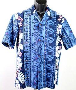 Royal-Creations-Hawaiian-camp-shirt-men-039-s-large-blue-with-purple-flowers