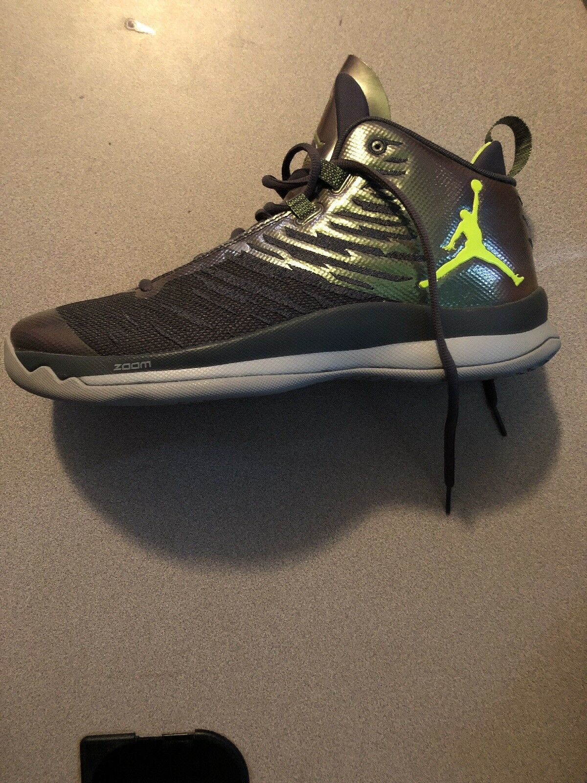Nike Air Jordan Super.Fly 5 Dark Grey/Volt Basketball Shoes Size 11 Never Worn