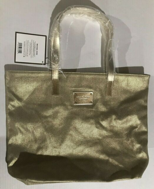 Michael Kors Chic Shimmer Tote Hand Bag Purse Large Gold Woman Signature