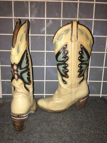 Miss Capezio tan cowboy boots w/ butterfly design