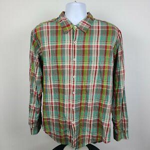 Carbon2Cobolt Green Red Plaid Check Flannel Mens Dress Button Shirt Size Large L