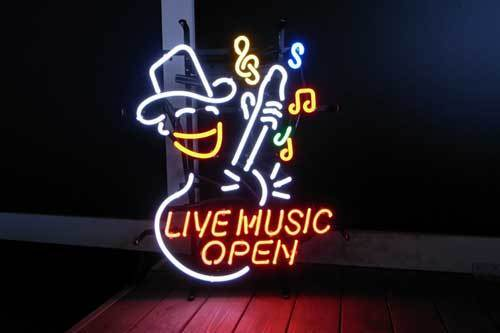 "New Live Music Open Cowboy Guitar Logo Bar Beer Neon Sign 19/""x15/"""