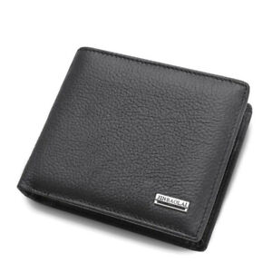 Mens-Wallet-Black-Bi-Fold-with-Top-Layer-Cowhide-Leather-Card-Slots-Coin-Pocket