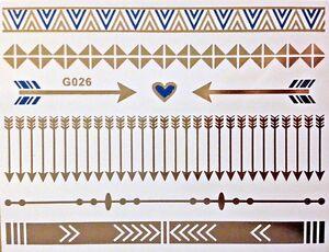 Flash-Einmal-Temporary-Klebe-Tattoo-Gold-Blau-8teile-Armband-Hals-Kette-Body-G26