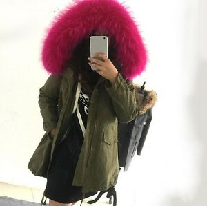 Womens Luxury Army Green Big Fur Hooded Winter Parka Coat Jacket ...