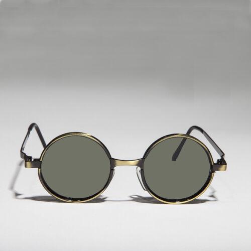 Bronze Round Metal Hippie Vintage Steampunk Sunglass Green Lens-Merlin