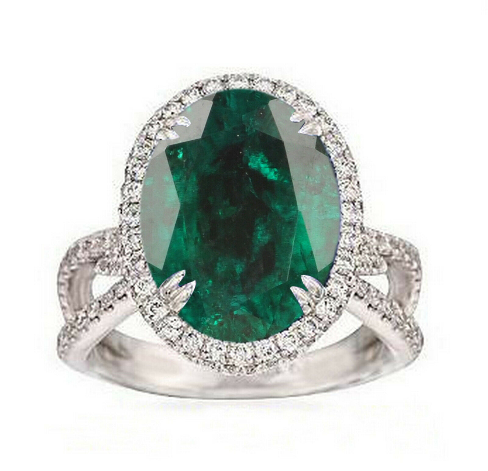 14KT White gold Natural Green Emerald 1.70Ct Oval Cut EGL Certified Diamond Ring