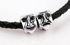 1 Silver Theatre mask Charm comedy tragedy Smiling Crying Face bead to be or not
