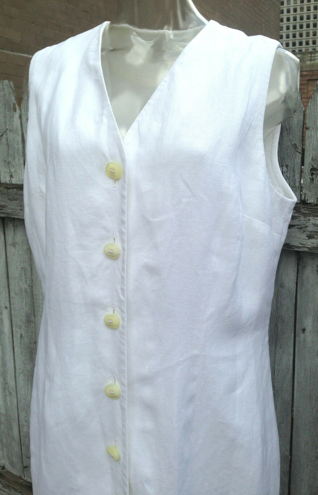 LORD & TAYLOR Linen Midi Dress White Button Down Sleeveless Lined 10 NWOT B 36