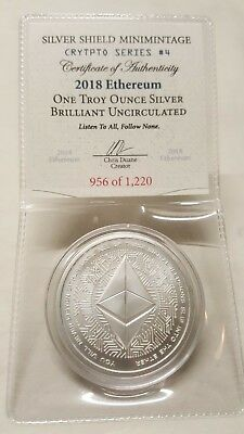ETH 1 oz Silver Crypto Coin Ethereum Silver Bullion Round