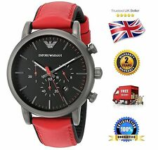 NEW Emporio Armani AR1971 Classic Men's Red Leather Strap Chronograph Date Watch