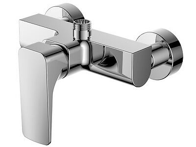Single Lever Wall Mounted Shower Mixer Tap - Chrome Plated Solid Brass Body