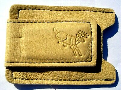 Tan BUCKSKIN Leather Money Clip Card Case Wallet Hand Crafted disabled Navy Vet