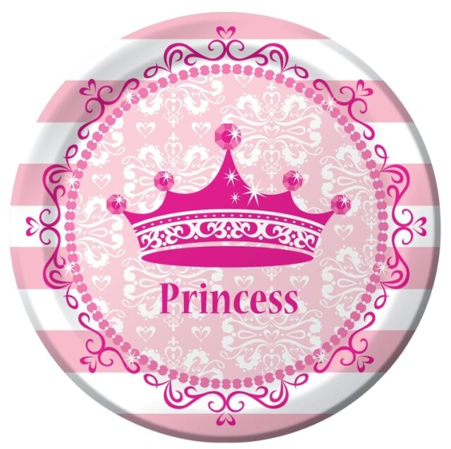 Pink Princess Royalty Dinner Plates (8) - Girls Birthday Themed Party Supplies