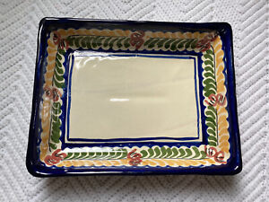 Mexican-Pottery-Platter-Serving-Dish-Hand-Painted-9-5-x7-Rectangle-EUC