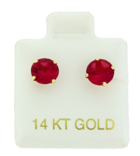 14k Solid Yellow Gold 6mm Simulated Ruby Screw Back Stud Earrings 1.50 Carat