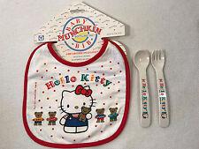 Rare Vintage Hello Kitty Baby Bib and Plastic Fork & Spoon Utensils, 1994, NEW