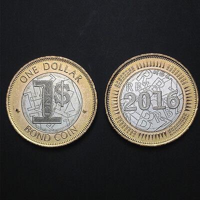 NEW ISSUE BIMETAL 1$ BOND UNC COIN 2016 YEAR ZIMBABWE