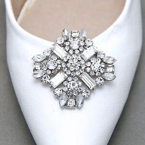 A Pair Rhinestone Crystal Wedding Bridal Diamante Crystal Cross Shoe Clips
