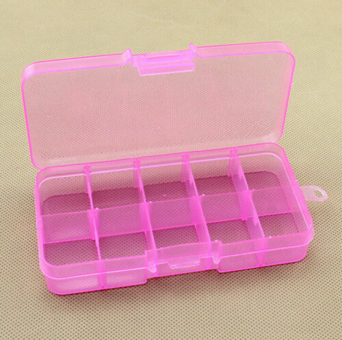 Plastic Storage Box Jewelry Bead Screw Organizer Container 10 Compartments Clear
