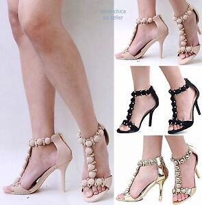Stiletto Studded Emc3 Gold Strap Button New Open T Heel Sandals Women Toe High Details About hCxQrdts