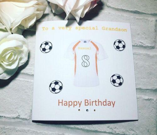 Football shirt birthday card 5th 6th 7th handmade /& personalised any age boys