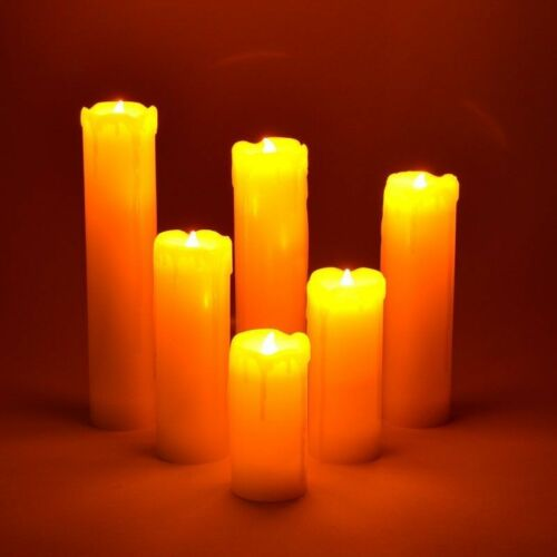 6PC FLICKERING CANDLES LED FLAMELESS WAX DRIP EFFECT MOOD WITH BATTERIES 41282C