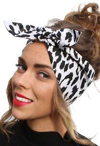 Pink Black Spotty Vintage 50s Style Pin Up Bow Head Scarf Bandana