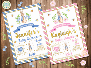 Delightful Image Is Loading 10 Personalised Peter Rabbit Baby Shower Invitations  Invites