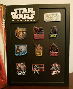Disney-Star-Wars-The-Force-Awakens-Pin-Set-Limited-Edition-10-Pins-In-Book-NEW