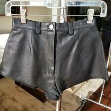 Leather Cheeky Shorts High Rise Booty Hot Pants, sz 0