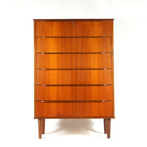 Retro Vintage Danish Teak Tall Boy Chest of Drawers Mid Century Dresser 50s 60s