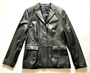 NATAN black leather classic blazer  - size 42 as  40 - jacket - veste cuir