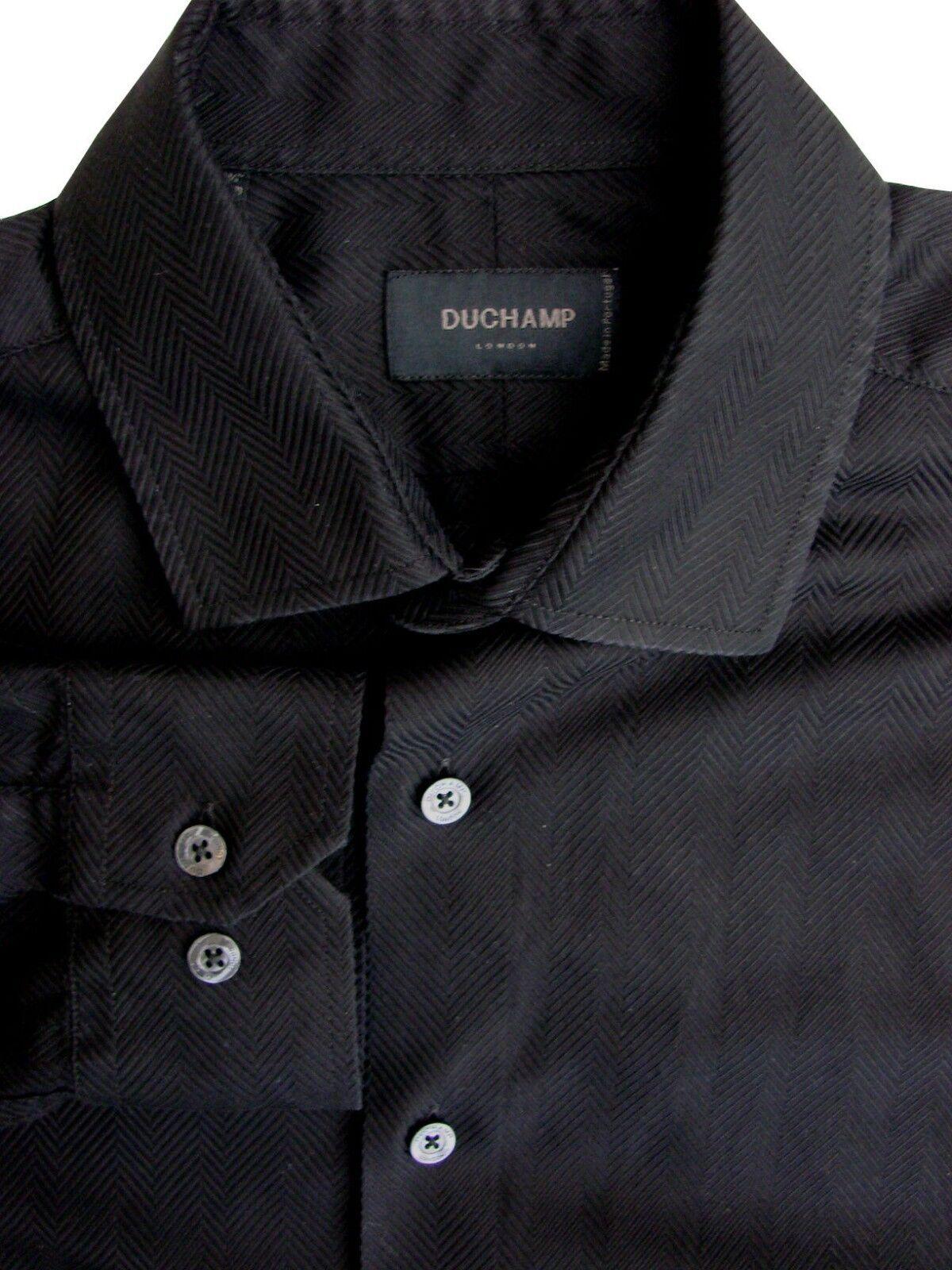 Duchamp London Camicia Da Uomo 16 M STRISCE NERE spina di pesce
