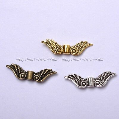 20Pcs TIBETAN SILVER, GOLD, BRONZE, Angel Wings Charms Spacer BEADS 23MM B1029