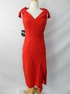 ETCETERA-RED-2-pc-SKIRT-BLOUSE-TOP-SUIT-OUTFIT-SET-sizes-0-2-8-10-NEW-450