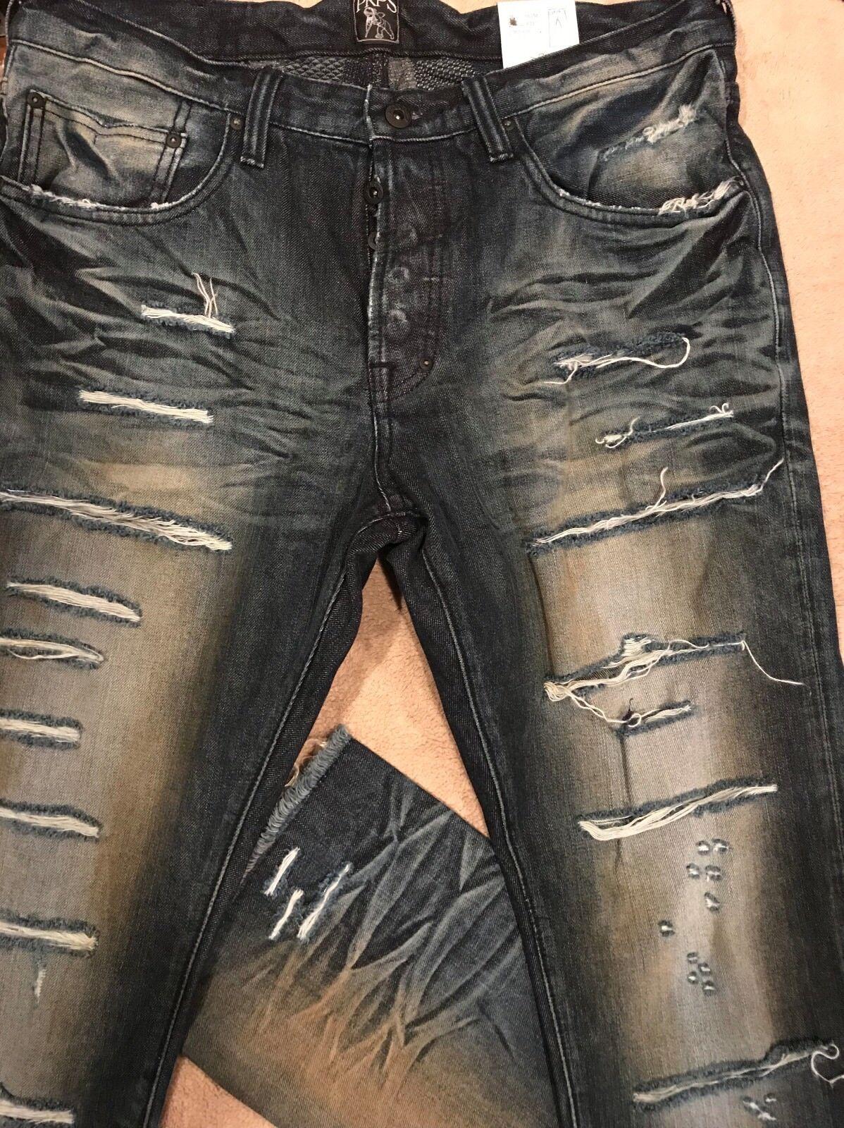 PRPS GOODS CO DEMON Super Slashed Creased Destroyed SLIM Jeans 34 x 35 Orig