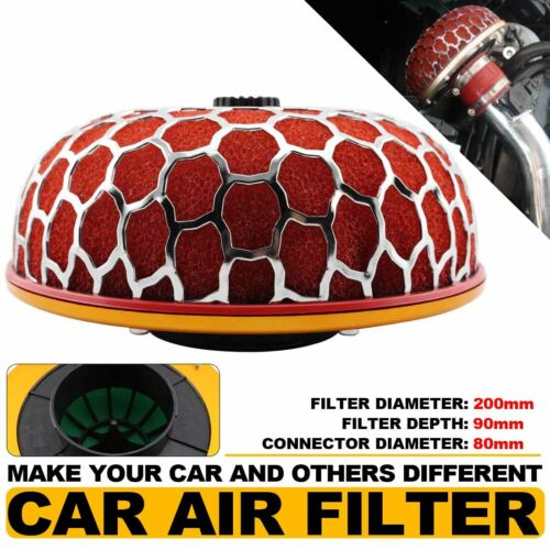 Red Universal Auto Car 80mm Super Power Air Filter Flow Intake Reloaded Cleaner