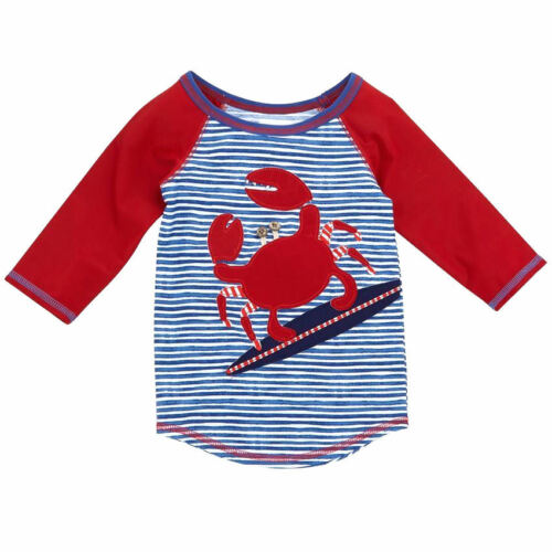 NWT Mud Pie Boathouse Boys Crab Long Sleeve Rashguard Swim Shirt 2T/3T 4T/5T