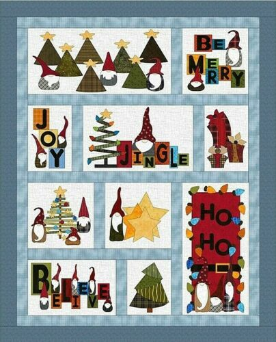 """New Applique /& Pieced Quilt Pattern GNOME FOR THE HOLIDAYS 50/"""" x 62/"""""""